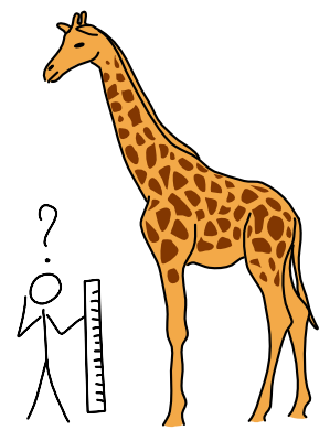 Tekening van een persoon die met een lineaal een Giraf probeert te meten